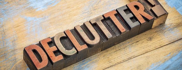 declutter word in wood type